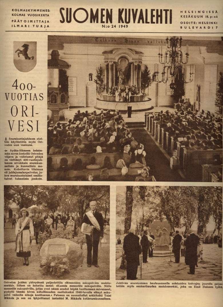 Suomen Kuvalehden kansikuva nro 24 / 1949. Kannessa on juttu ja kuvia Oriveden kunnan 400-vuotisjuhlista.