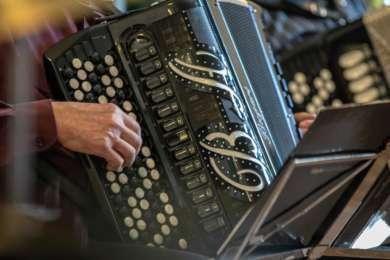 Harmonikansoittajan käsi on koristeellisen harmonikan näppäimillä.