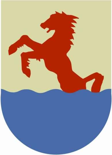 Oriveden kaupungin vaakuna, jossa punainen ori kavahtaa pystyyn sinisestä vedestä.