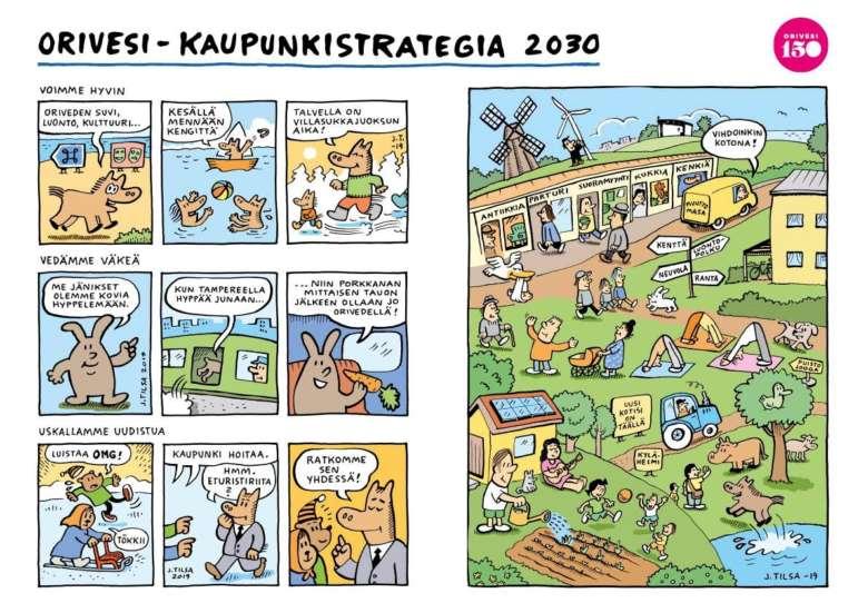 Sarjakuvataiteilija Jukka Tilsa on piirtänyt Oriveden kaupunkistrategiasta sarjakuvan.