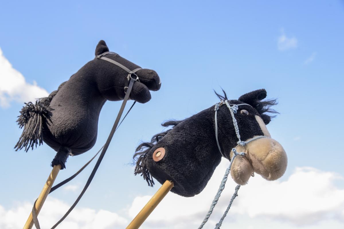 Kaksi keppihevosta kirmaavat sinistä taivasta vasten.