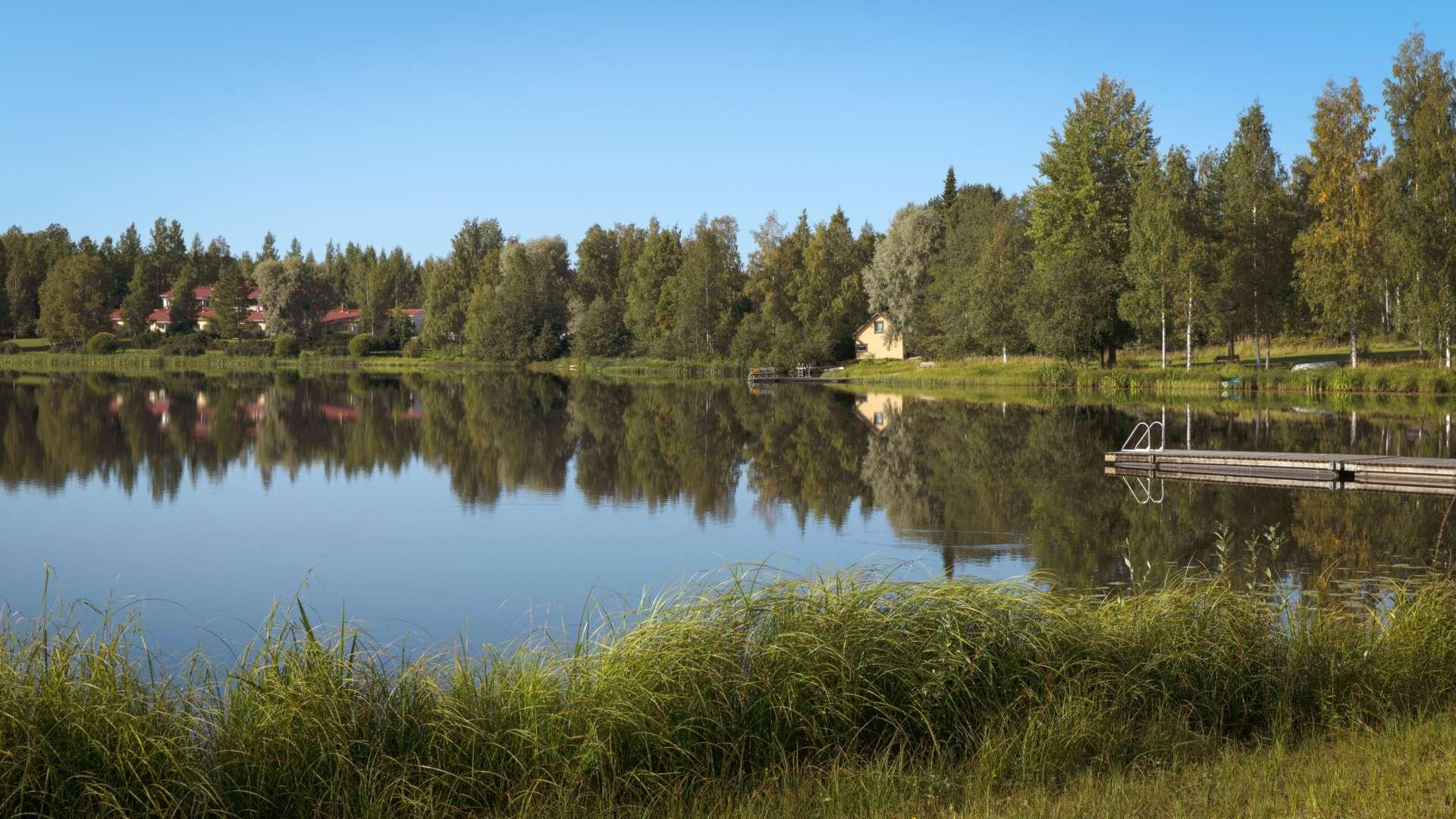 Tyyni järvi ja ympäristö kesällä. Järven rannalla on kaksi laituria. Järven vastarannalla on puita ja talo.