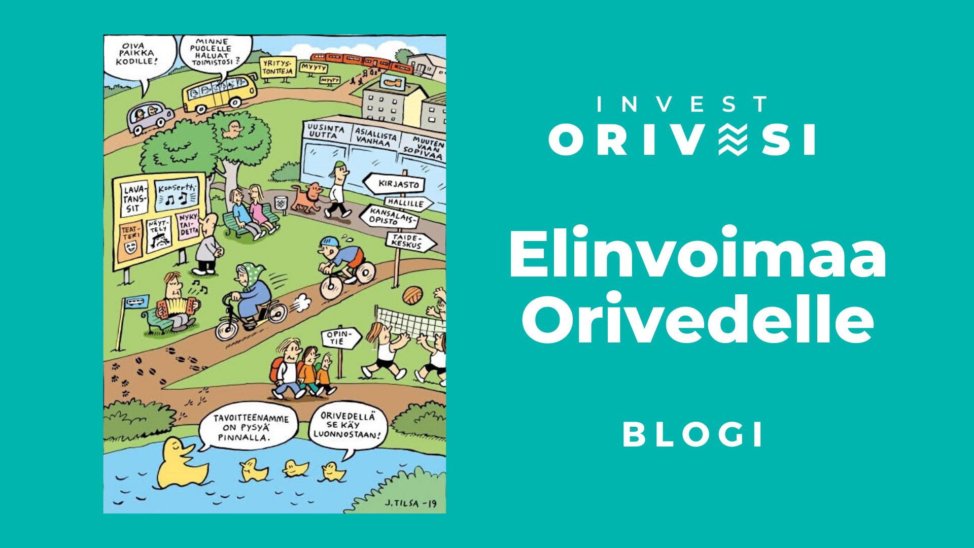 Elinvoimaa Orivedelle -blogin tunnuskuva, jossa Jukka Tilsan sarjakuvakuvitusta.