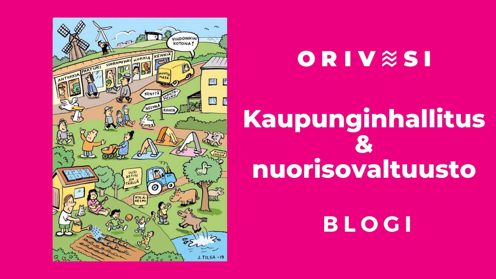 Kaupunginhallituksen ja nuorisovaltuuston blogin tunnuskuva. jossa Jukka Tilsan sarjakuvakuvitusta.