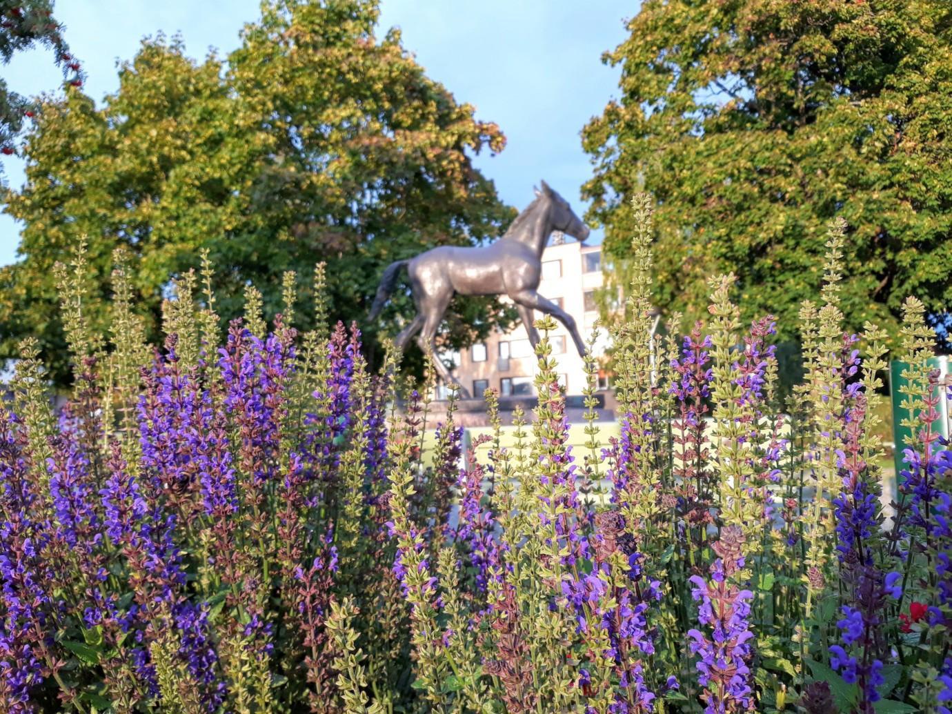 Orivarsa-patsas ja kesäkukkia Orivarsan puistossa.