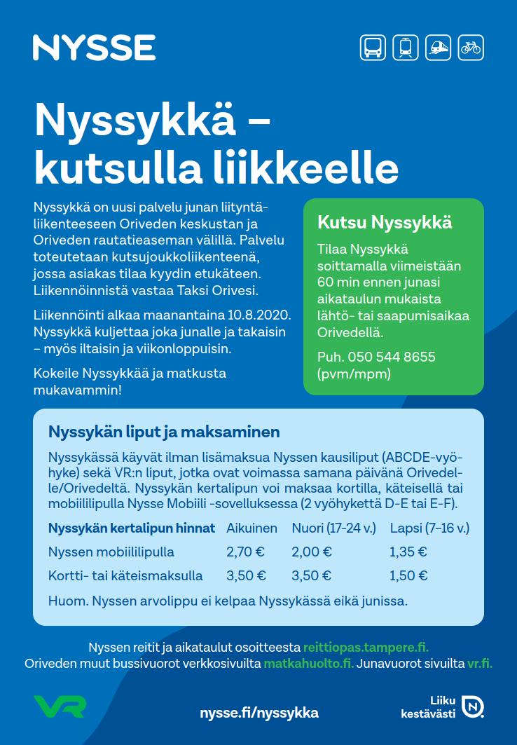 Nyssykän aikataulut kuvana, löytyvät myös osoitteesta reittiopas.tampere.fi.