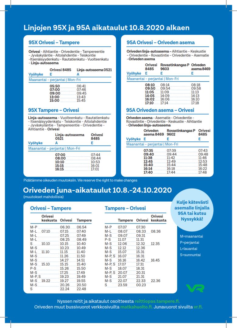 Oriveden Nysse-linjojen 95X- ja 95A-aikataulut. Aikataulut löytyvät myös osoitteesta reittiopas.tampere.fi.