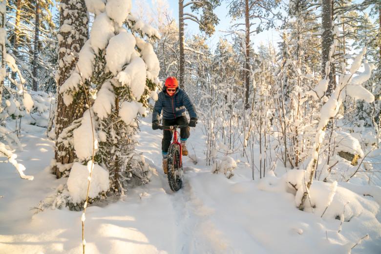 Mies pyöräilee fatbike-pyörällä lumisessa metsässä.
